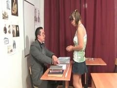 Cute little brunette receives nailed by her teacher