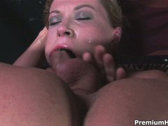 Sexy woman Sara Stone with large scones gets her mouth fucked with no mercy by man with inflexible cock. She takes his meat pole so unfathomable that touches his balls with her lips from time to time.
