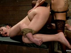 Andy San Dimas is back again as a slave girl. Hawt brunette hair acquires restrained. tortured and ruthlessly dong drilled by hawt blooded lesbian dominatrix-bitch Gia Dimarco.