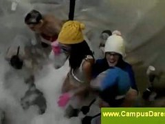 College foam party with a bitch fight