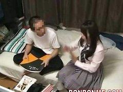 Cute Jap classmate home sex visit