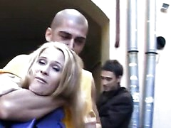 Cute legal age teenager beauty in insane anal gang bang