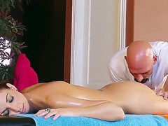 Katie Jordin gets professional massage by Johnny Sins with elements of volcanic fucking