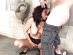 dirty cougar whore fucking in a public toilet