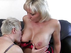 aged blond lesbians having joy and hard sex