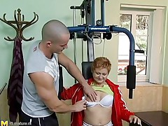 watch this mature woman touching his large cock