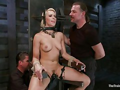 blonde in thraldom device receives harsh treatment