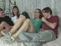 Girlfriends drilled in a four-way