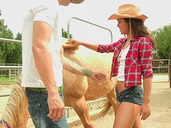 Freaky cowgirl sucking large cock