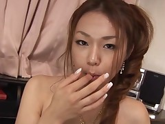 Breasty Oriental girl with curly vagina feels dick and twat in hole