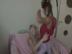 lesbians fucking with belt vibrator