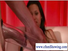 Cfnm girls pumping and blowing cock