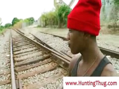 Thug guy acquires fucked by white cock by the train rails