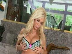 Busty blonde rubbing the love button hard