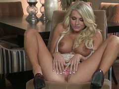 Stacked golden-haired girl Alicia Secrets shows off her constricted wazoo and her smooth pussy. This babe spreads her slit lips and demonstrates her pink gap on a chair. Alicia Secrets inserts two fingers in her love tunnel.