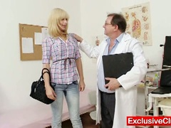 Blonde paris visits nasty old gyno doctor to have her pussy examined